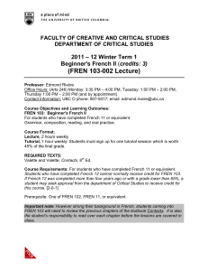 FREN 103-002 Lecture - Faculty of Creative and Critical Studies