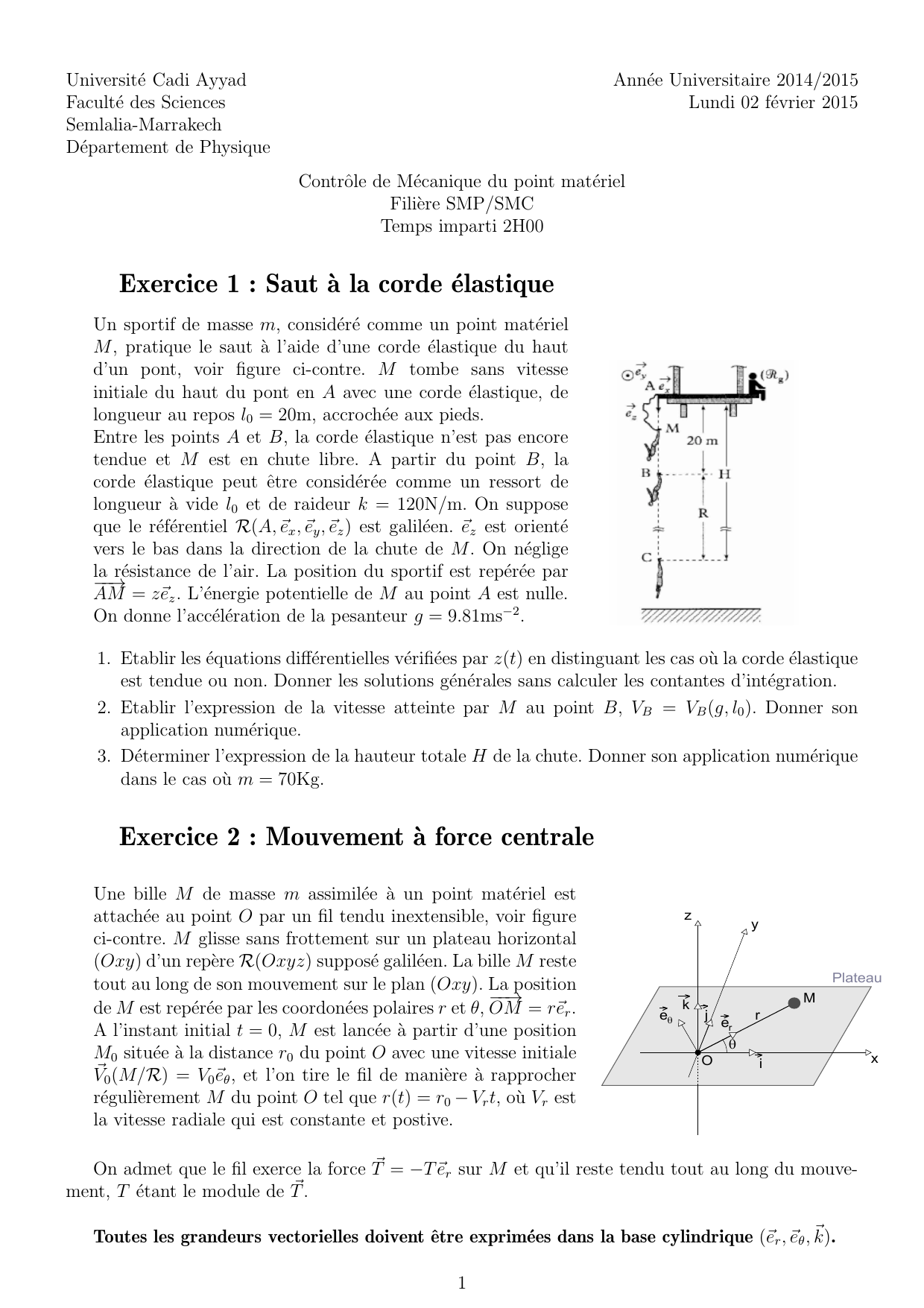 Exercice 1 Saut A La Corde Elastique Exercice 2 Mouvement A
