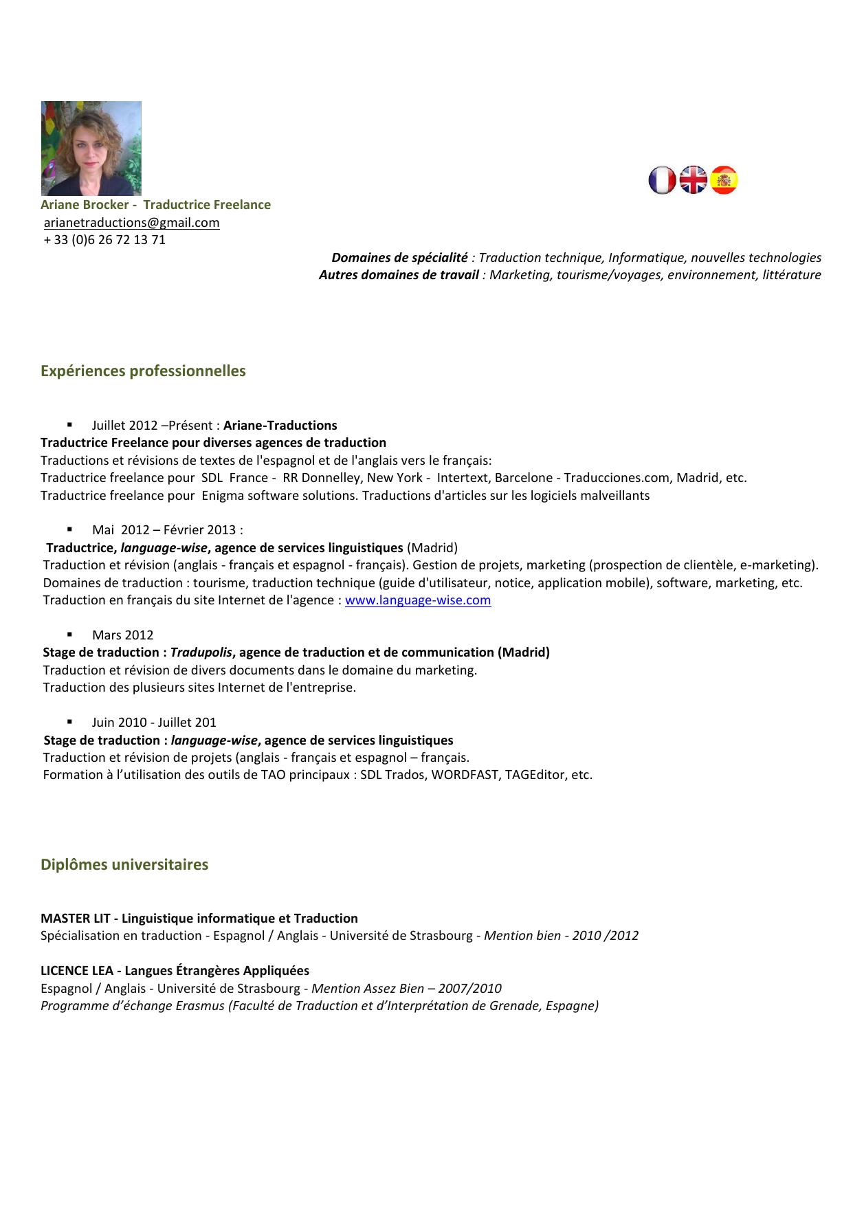 Experiences Professionnelles Diplomes Universitaires