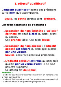 L`adjectif qualificatif