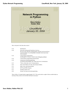 Network Programming in Python LinuxWorld January 20, 2004