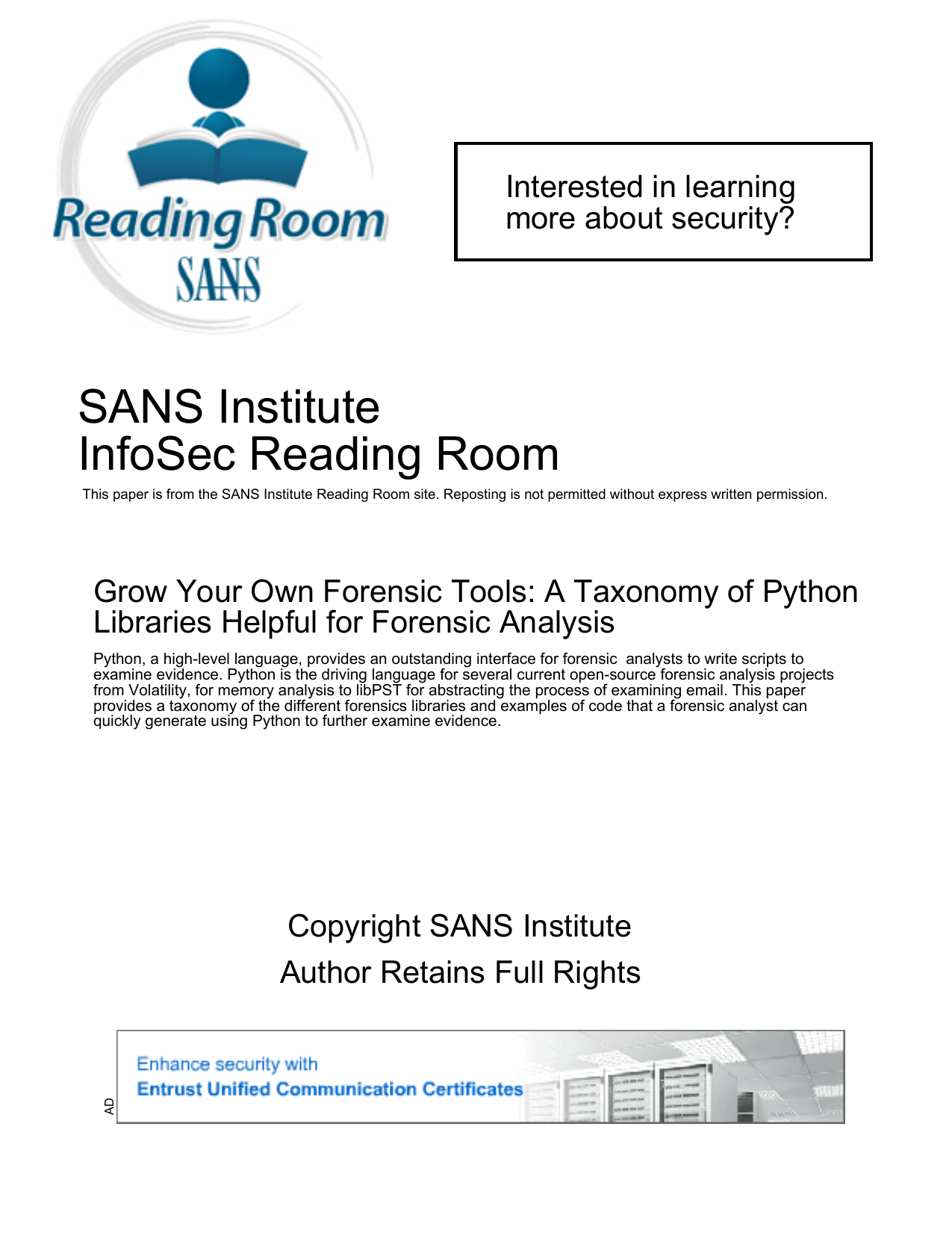 SANS Institute InfoSec Reading Room Interested in learning more