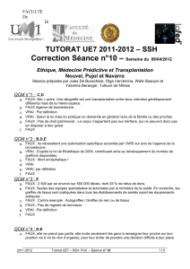 Correction Séance n°10 –  TUTORAT UE7 2011-2012 – SSH