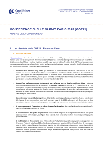 CONFERENCE SUR LE CLIMAT PARIS 2015 (COP21)