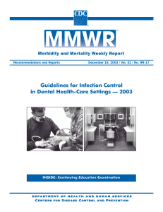 Guidelines for Infection Control in Dental Health-Care Settings