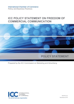 ICC POLICY STATEMENT ON FREEDOM OF COMMERCIAL COMMUNICATION POLICY STATEMENT
