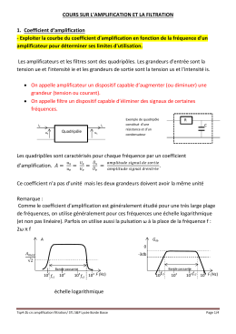 COURS SUR L'AMPLIFICATION ET LA FILTRATION 1.  Coefficient d'amplification