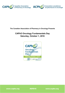 CAPhO Oncology Fundamentals Day Saturday, October 1, 2016