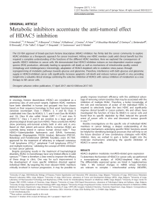 Metabolic inhibitors accentuate the anti-tumoral effect of HDAC5 inhibition ORIGINAL ARTICLE