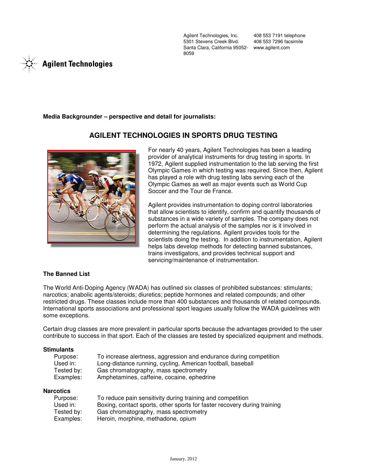 Agilent in Sports Drug Testing