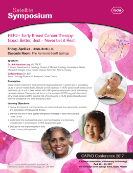 Symposium Satellite HER2+ Early Breast Cancer Therapy: