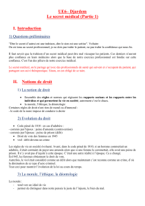 UE6– Djardem Le secret médical (Partie 1) I. Introduction 1) Questions préliminaires