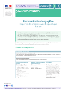 2 3 4 LANGUES VIVANTES Communication langagière CYCLES