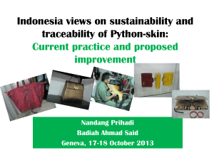 Indonesia views on sustainability and traceability of Python-skin: Current practice and proposed improvement