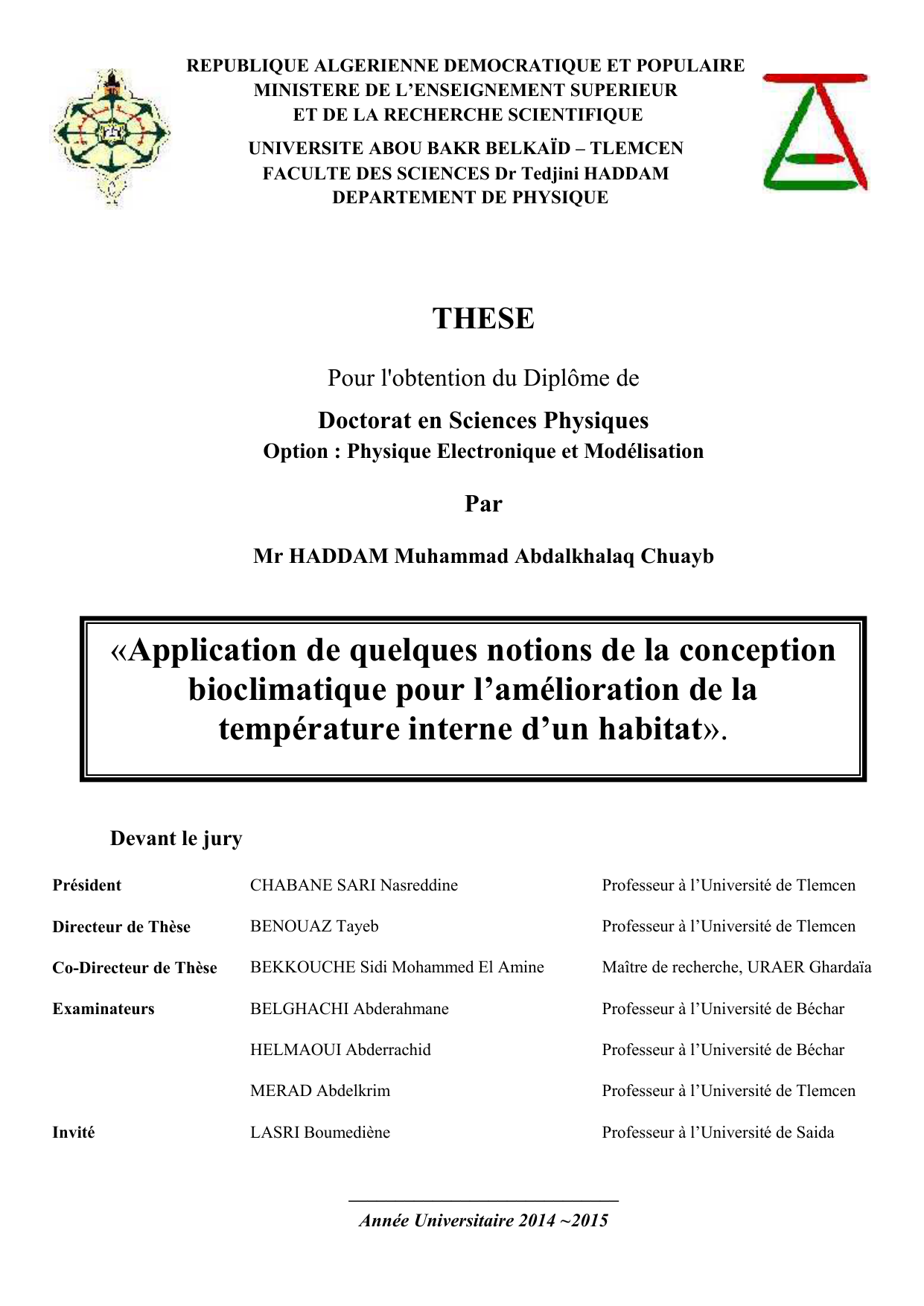Application De Quelques Notions De La Conception Bioclimatique Pour
