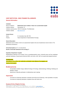 HOST INSTITUTION - ESDO TRAINEE FELLOWSHIPS General Information
