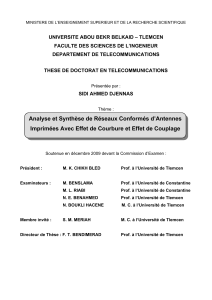 UNIVERSITE ABOU BEKR BELKAID – TLEMCEN FACULTE DES SCIENCES DE L'INGENIEUR
