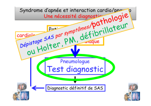 Test diagnostic Syndrome d'apnée et interaction cardio/pneumo Patient sympto