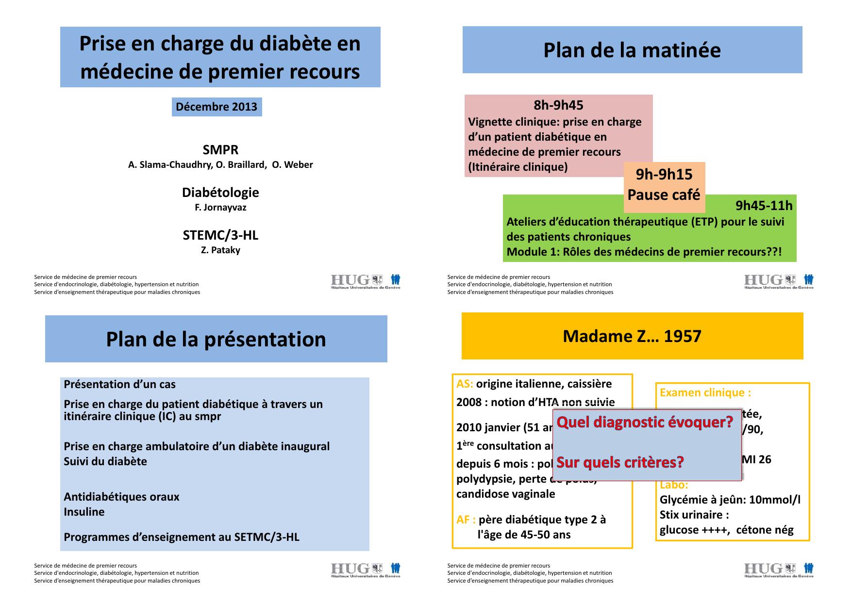 Prise En Charge Du Diabete En Plan De La Matinee 8h 9h45