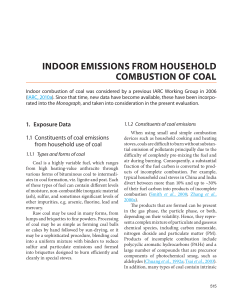 INDOOR EMISSIONS FROM HOUSEHOLD COMBUSTION OF COAL 1.  Exposure Data
