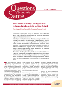 Three Models of Primary Care Organisation n° 141 - April 2009