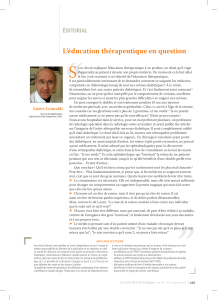 """ S L'éducation thérapeutique en question ÉDITORIAL"