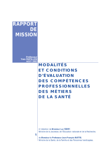 Modalit s et conditions d' valuation des comp tences professionnelles des m tiers de la sant