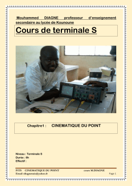 Cours de terminale S CINEMATIQUE DU POINT Mouhammed DIAGNE