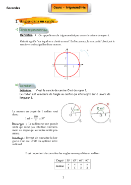 Angles s Cours – trigonométrie Seconde