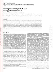 Glucagon-Like Peptide-1 and Energy Homeostasis 1–3