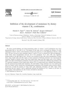 Inhibition of the development of metastases by dietary vitamin C:K combination