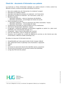 Check-list : documents d'information aux patients