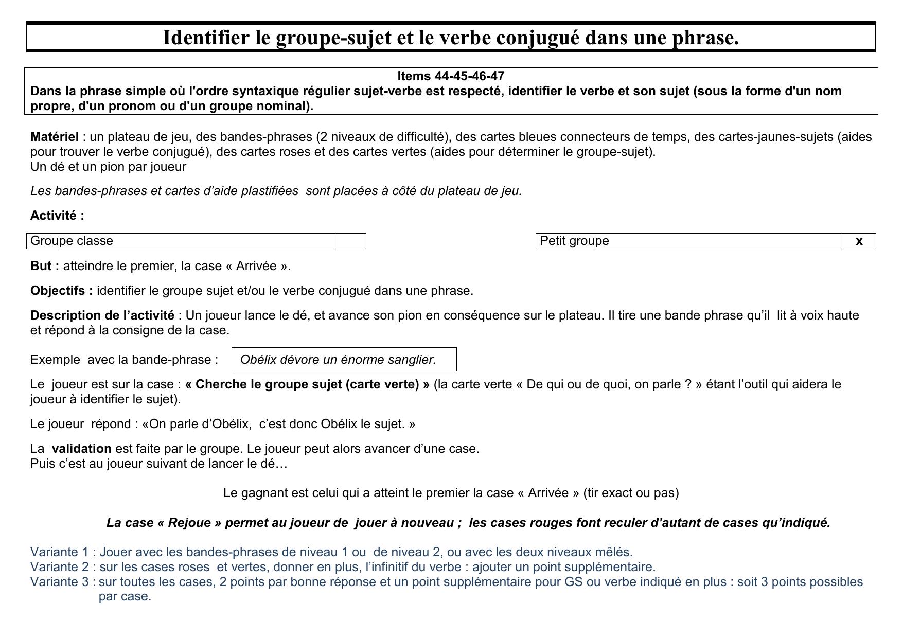 Identifier Le Groupe Sujet Et Le Verbe Conjugue Dans Une Phrase