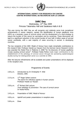 IARC Day Wednesday, 13 May 2009