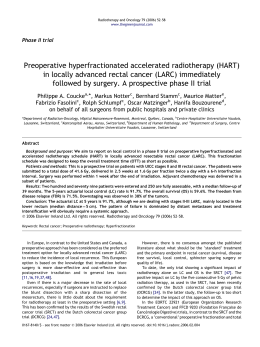 Preoperative hyperfractionated accelerated radiotherapy (HART)