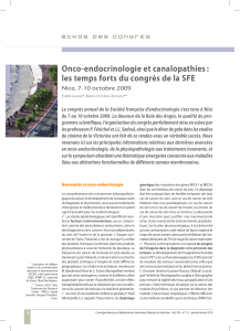 Onco-endocrinologie et canalopathies : Nice, 7-10 octobre 2009