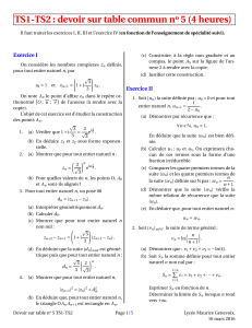 TS1-TS2 : devoir sur table commun n 5 (4 heures) o Exercice I