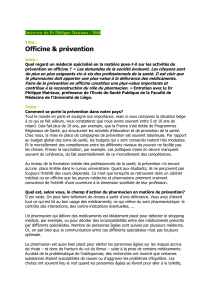 Officine & prévention  Interview du Pr Philippe Mairiaux - 2008