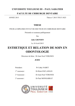 UNIVERSITE TOULOUSE III – PAUL SABATIER FACULTE DE CHIRURGIE DENTAIRE THESE