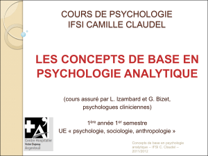 LES CONCEPTS DE BASE EN PSYCHOLOGIE ANALYTIQUE  COURS DE PSYCHOLOGIE