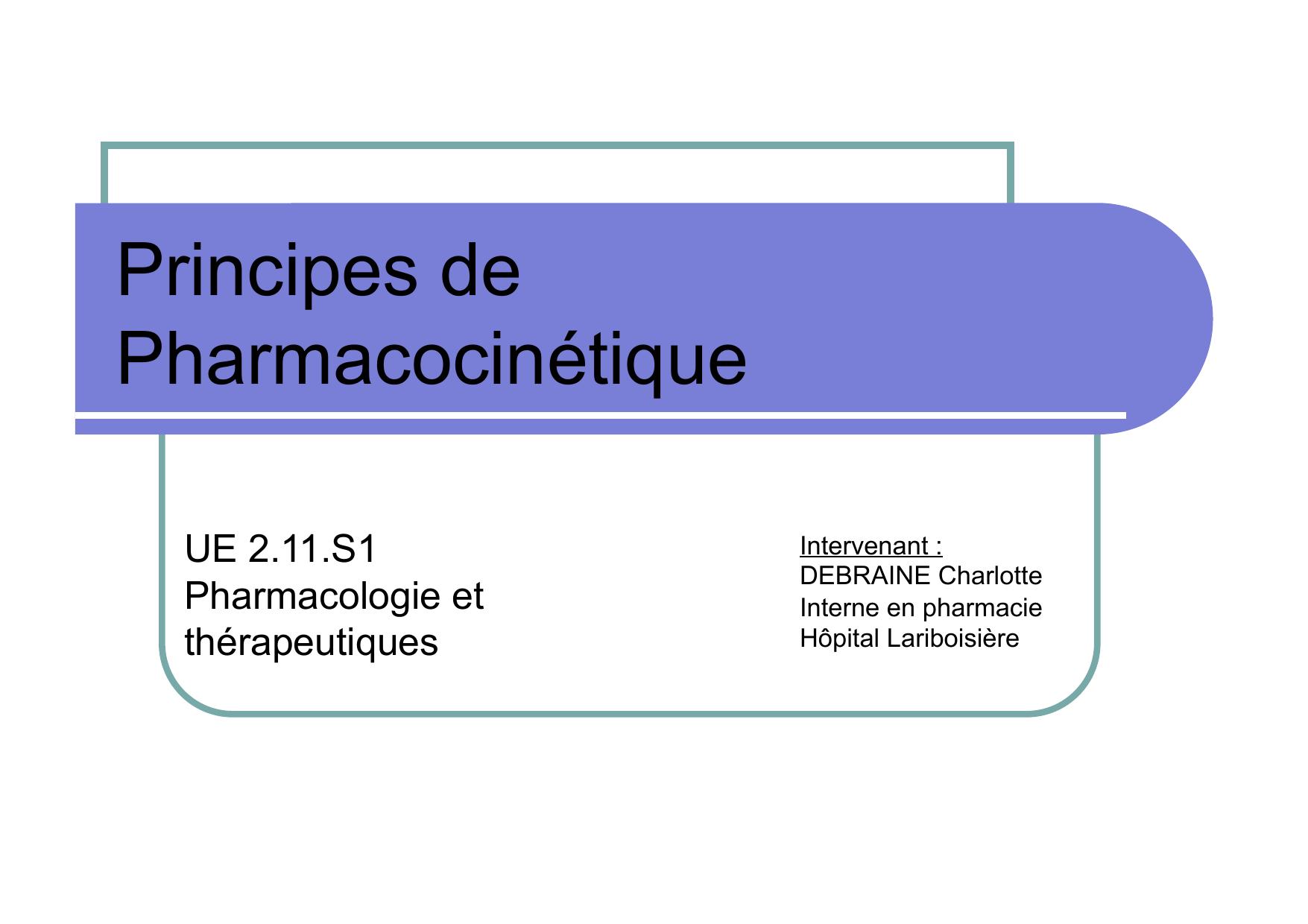 Cours Ifsi La Pharmacocinetique C Debraine