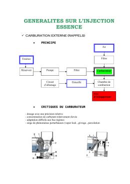 GENERALITES SUR L'INJECTION ESSENCE  9  CARBURATION EXTERNE (RAPPELS)