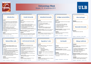 Immunology Week Biopark, 16 - 20 decembre 2013 Introduction