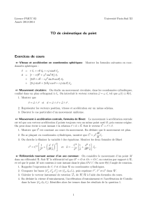 TD de cin´ ematique du point Exercices de cours