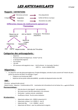 Les anticoagulants  : Rappels