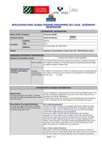 APPLICATION FORM: GLOBAL TRAINING PROGRAMME 2017-2018 – INTERNSHIP INFORMATION