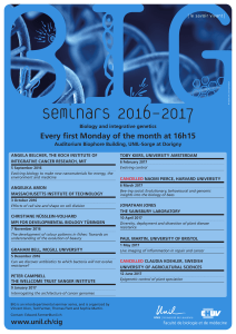 Seminars 2016 – 2017 Every first Monday of the month at 16h15