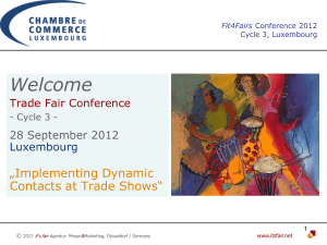 "Welcome  ""Implementing Dynamic Contacts at Trade Shows"""