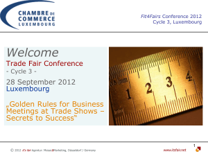 "Welcome  ""Golden Rules for Business Meetings at Trade Shows –"