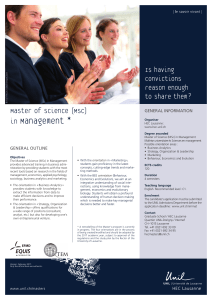 Management * Master of Science (MSc)   in  Is having